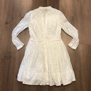 Michael Kors Long Sleeve Eyelet Dress
